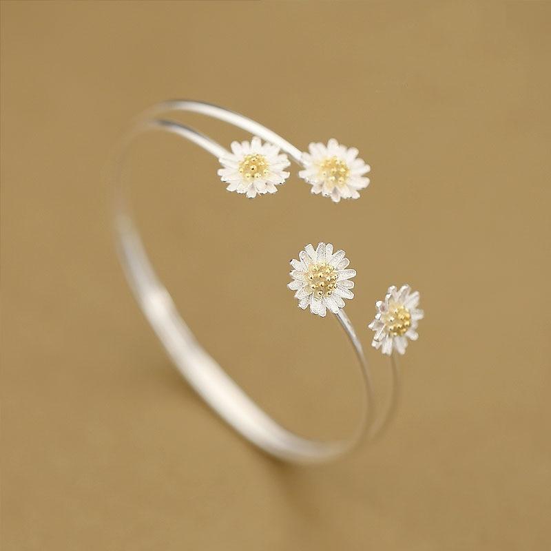 Silver Daisy Flower Bangles Open Cuff Bracelet