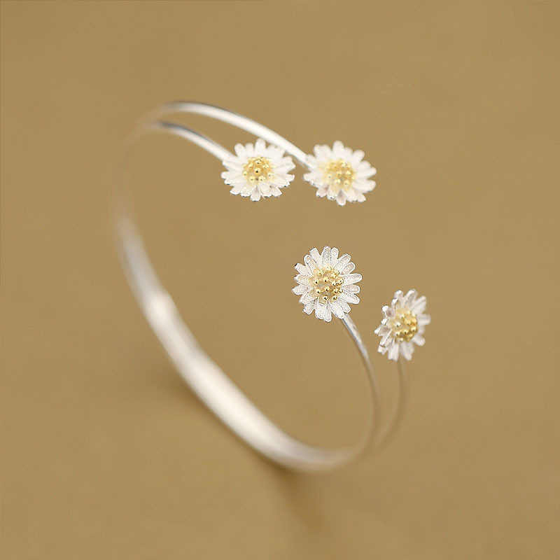 Daisies 925 Sterling Silver Daisy Flower Bangles Open Cuff Bangles & Bracelets Women Wrist Charm Accessories Statement Jewelry