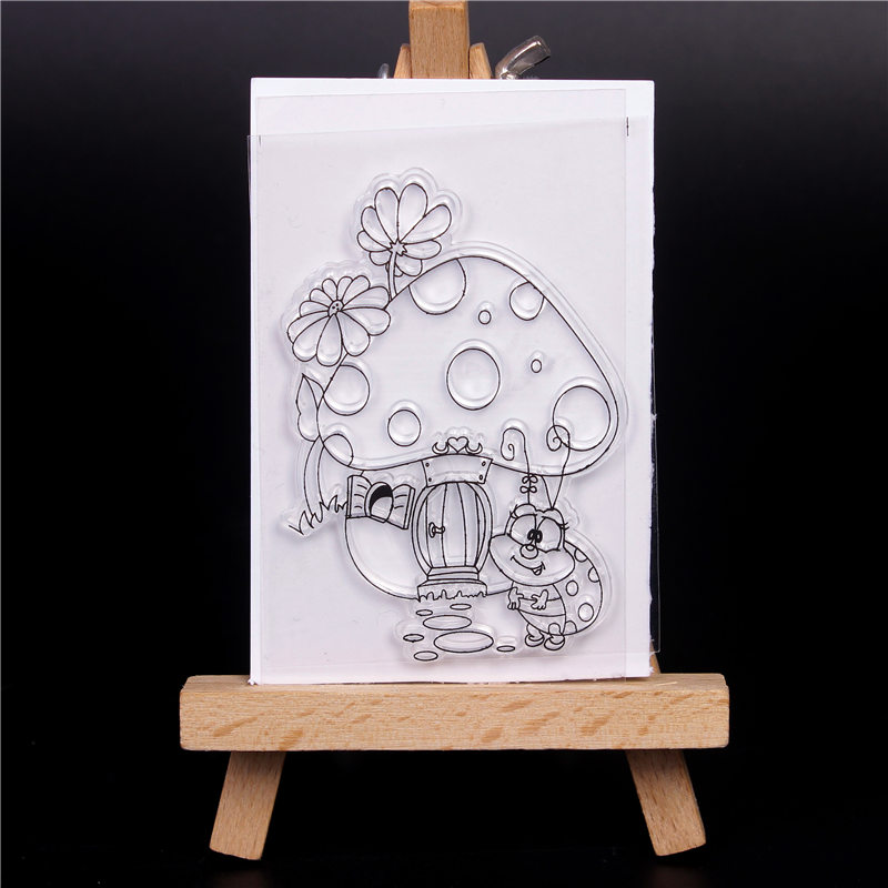 Transparent Clear Silicone Stamps for DIY Scrapbooking Card Making diy photo Roller album Decorative Mushroom house Stempel