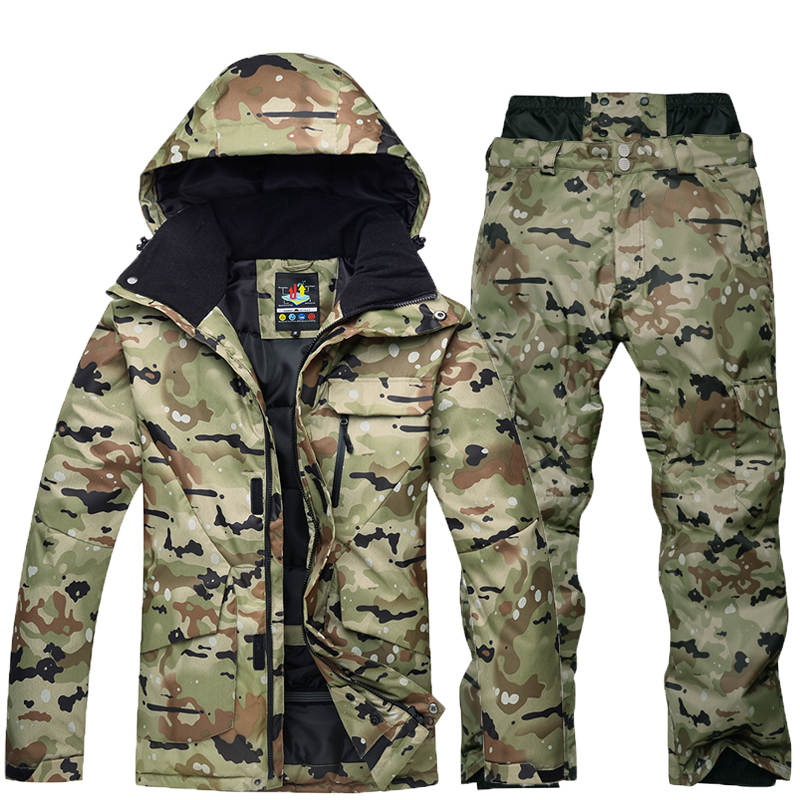 Camuffamento di alta qualità degli uomini tuta da sci giacca da snowboard antivento impermeabile traspirante inverno giacca + vestito di pantaloni da sci caldo