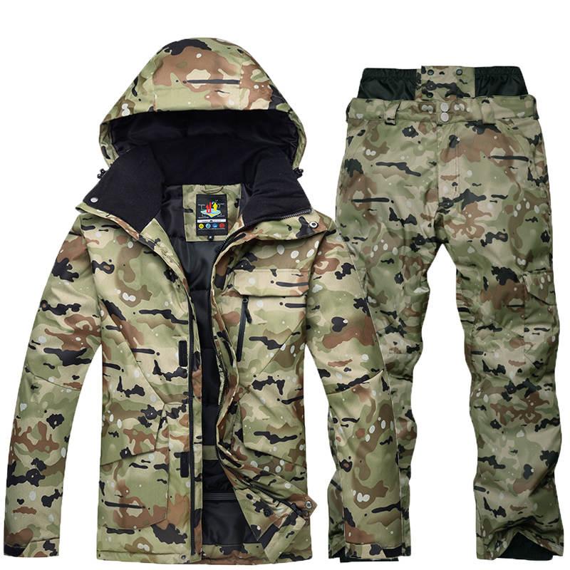 Haute qualité camouflage hommes de combinaison de ski snowboard veste coupe-vent imperméable respirant veste d'hiver + chaud ski pantalon costume