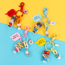 Arale Japanese Cartoon Girl Keychain  Model Miniature Key Ring Action Figures Anime Dr slump Mini Dolls Figurines Keychains