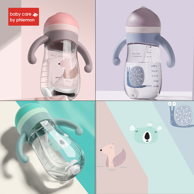 Babycare Brand Baby Water Bottle Infant Cartoon Gravity Ball Cup Soft Silicone Handle Straw Leak Proof Tritan Water Bottle 280ml