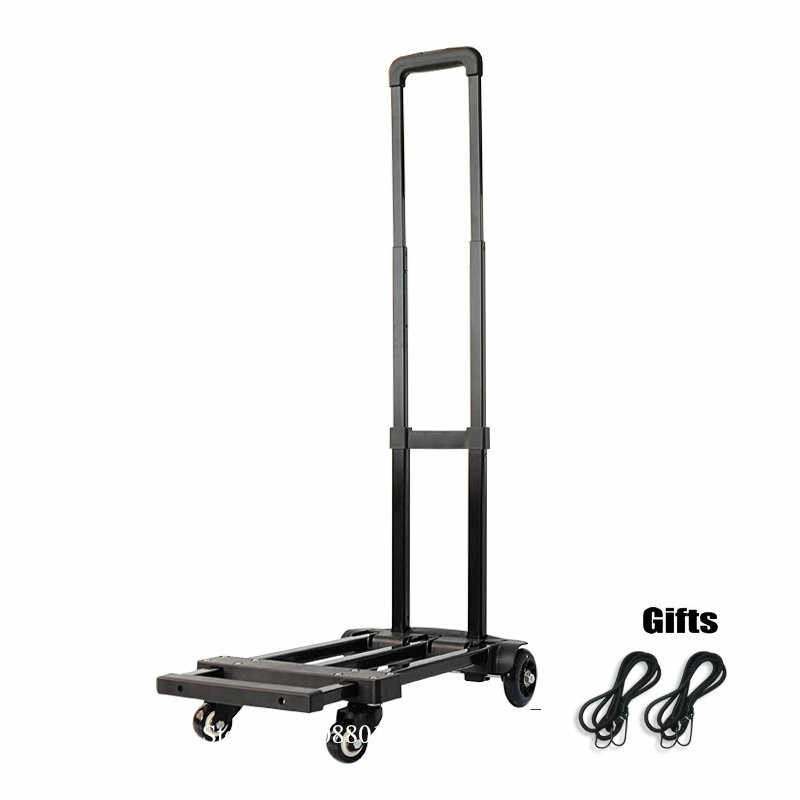 f496cbfc3d23 Folding Hand Truck, 120lbs Heavy Duty 4-Wheel Solid Construction Utility  Cart, Lightweight for Luggage, Portable Fold Up Dolly