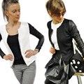 Fashion Black White Bomber Jacket 2016 Autumn Long Sleeve Women Basic Coats Casual Slim Short Coats Chaquetas Mujer