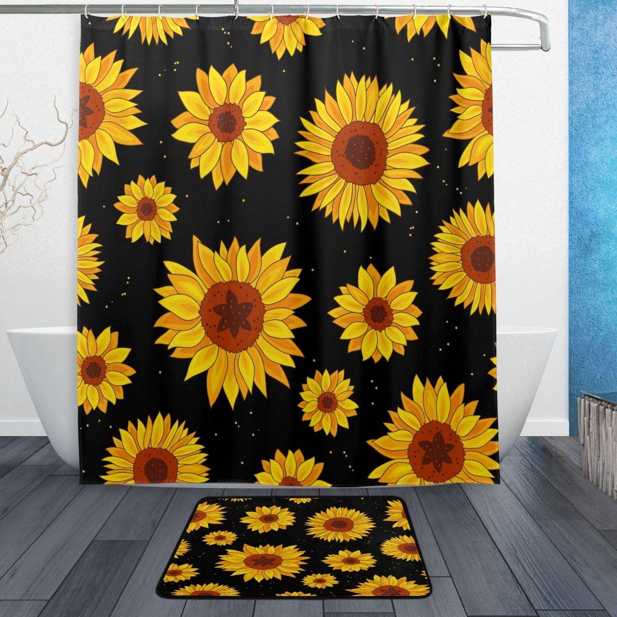Watercolor Sunflower Flower Waterproof Polyester Fabric Shower Curtain with Hooks Doormat Bath Floor Mat Bathroom Home Decor