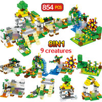 854 PCS My World Building Blocks LegoINGLYS Minecrafted Farm Town Figure Bricks 8 IN 1 Educationa Children Christmas Gift Toys