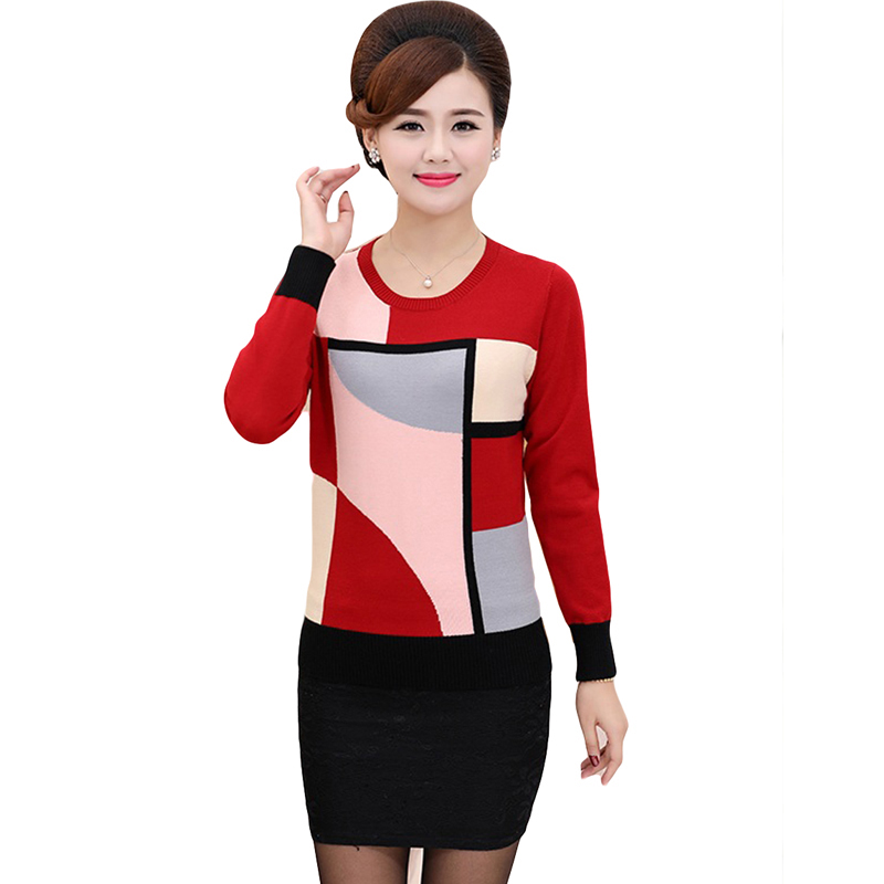 2018 Spring Autumn Loose Geometric Print Sweater Women Casual Knitted Long Sleeve Sweater Plus Size Pullovers Sweater YP1061 4