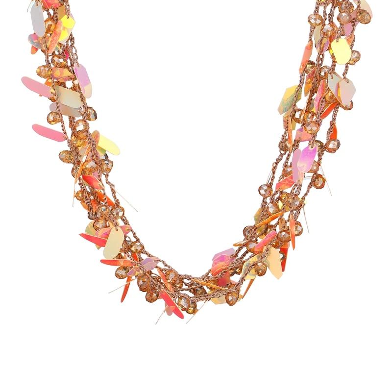 Sequin Floral Statement Choker Necklace DjGSJKIz