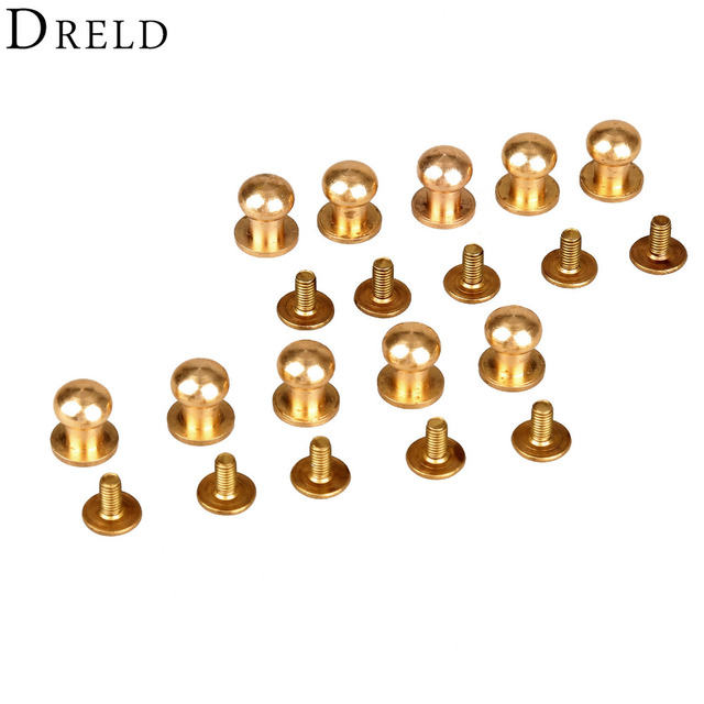 10pcs Decorative Buttons Leather Tools Brass Bag Rivet Screw Sewing Button Studs botones para manualidades 5/6/7/8/9/10mm