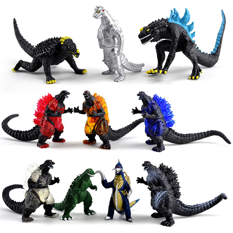 10Pcs/set Godzilla Dinosaur Action Figure Toy Collectible PVC Model Toys for Anime Lovers Christmas Gift  8cm N041 huong anime slam dunk 24cm number 11 rukawa kaede pvc action figure collectible toy model brinquedos christmas gift