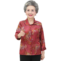 Elderly Women Flower Shirts Elderly Lady Oriental Top Red Blue Flower Pattern Blouses Grandma Mother Elegant Silk Shirt Spring