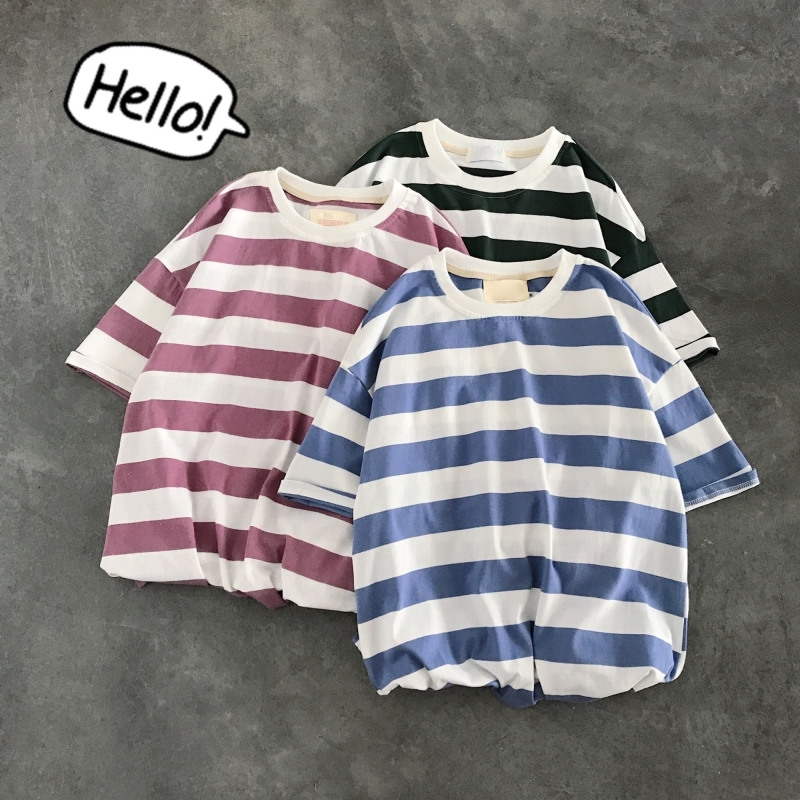 Summer New T Shirt Men Fashion Casual Striped Short sleeved Tshirt Man Streetwear Trend Wild Hip hop Loose Cotton T shirt M XL in T Shirts from Men 39 s Clothing