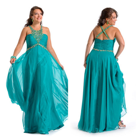 Cheap Teal Plus Size Prom Dresses 113