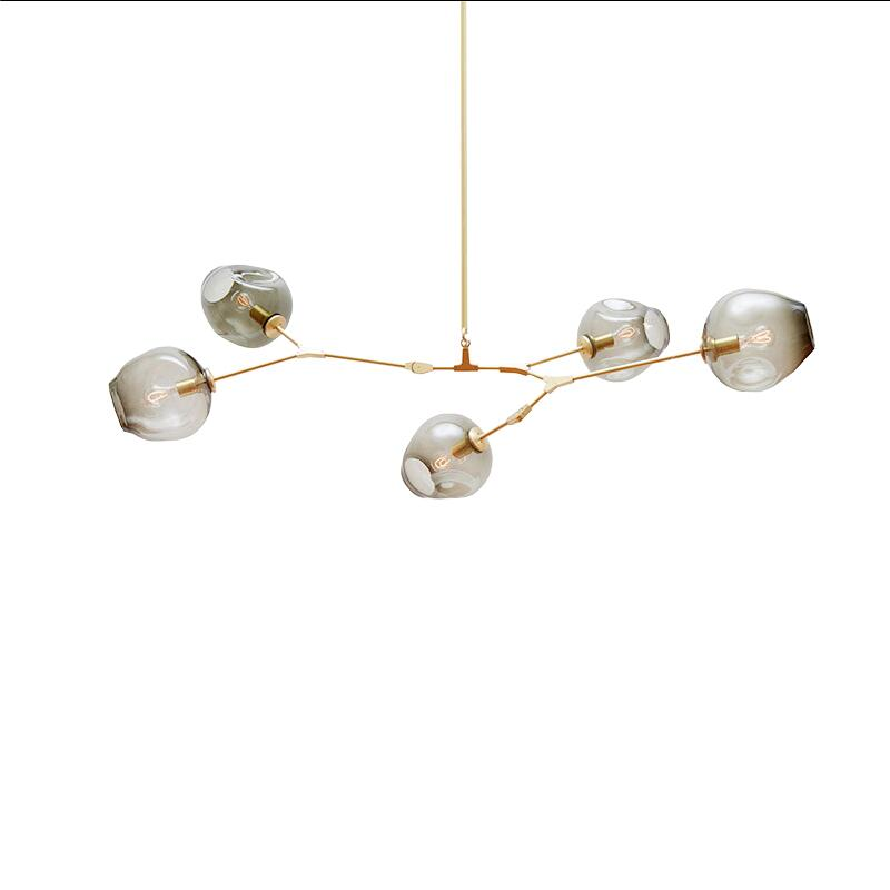 5 Lights Heads Amber/smoky Grey Glass 110-240v Led Chandeliers Nordic Dining Room Kitchen Living Room Gold Branch Hanging Light