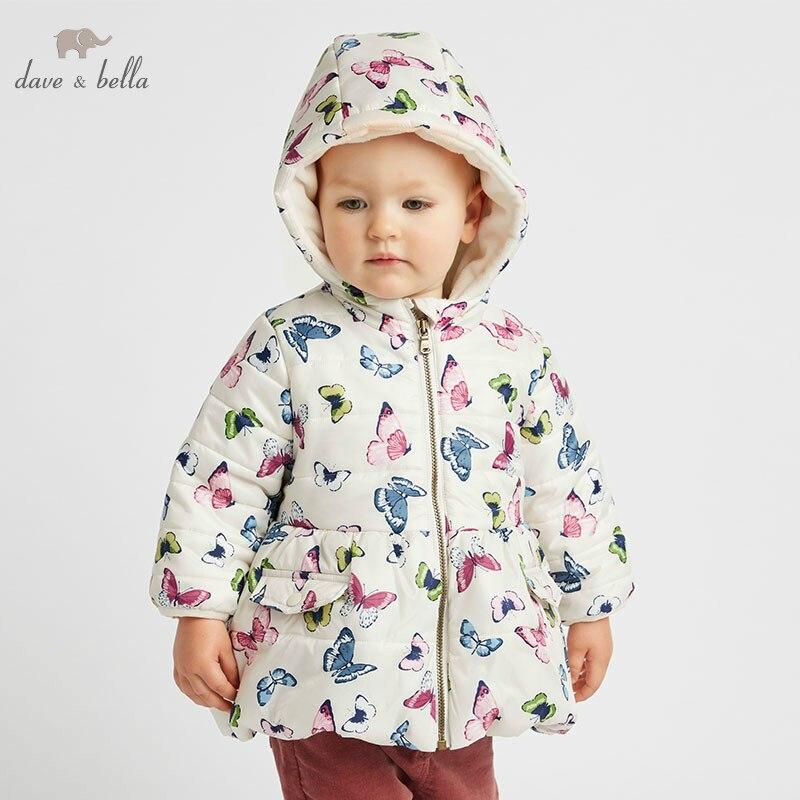 DBA7998 Dave Bella хлопковая куртка для маленьких девочек Детская верхняя одежда модное пальто с принтом