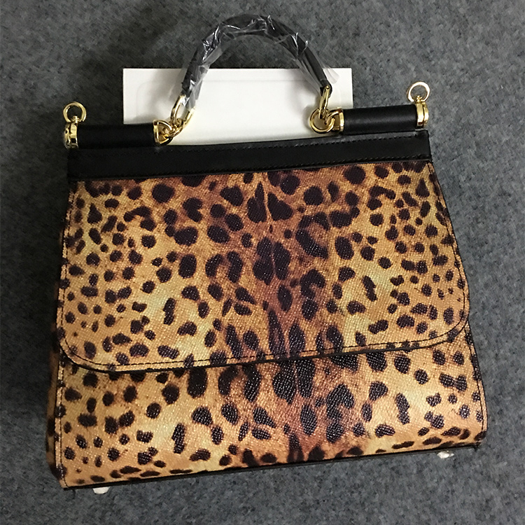 Leopard Print Handbag printed cowhide single shoulder Leather Cross bag leisure banquet features leisure buckles and leopard printed design satchel for women