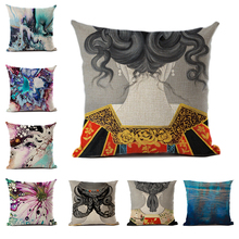 Abstract Butterfly Cushion Cover Polyester Linen Girl's Back View Ink Style Print Decorative Pillowcase for Sofa Car Home Decor uneven wood print linen sofa pillowcase
