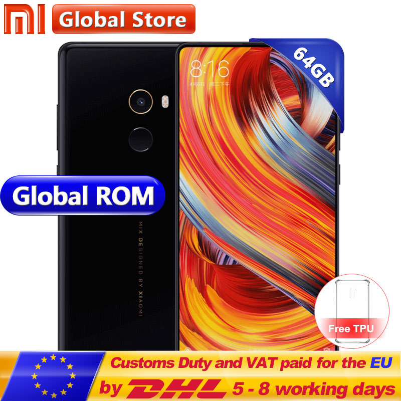 Оригинал Сяо mi x2 6 ГБ 64 ГБ mi x 2 мобильный телефон сотовый телефон Global ROM Snapdragon 835 Octa Core Дисплей керамический корпус