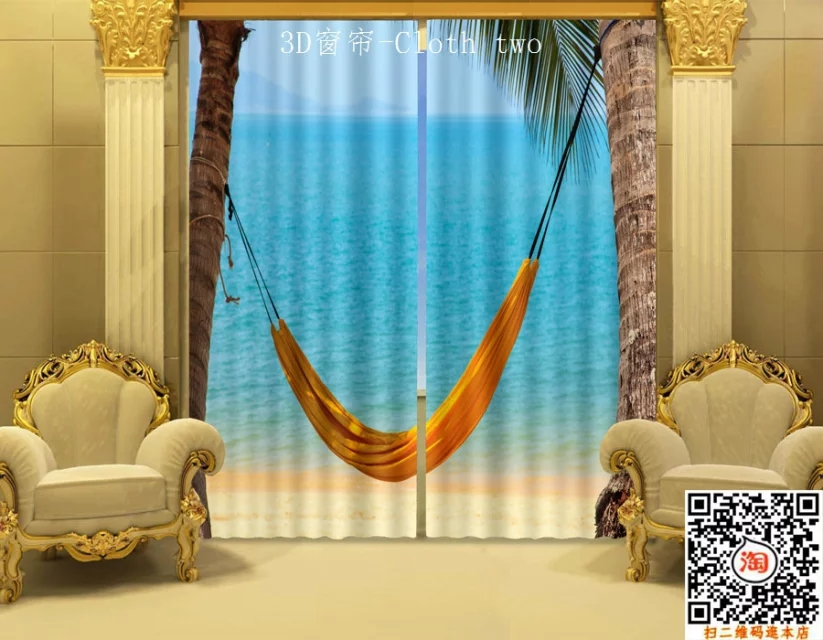 Beach Window Curtains Part - 27: Beautiful Bule Sea Beach Blackout 3D Curtains For Living Room Bedding Room  Office Drapes Cotinas Para