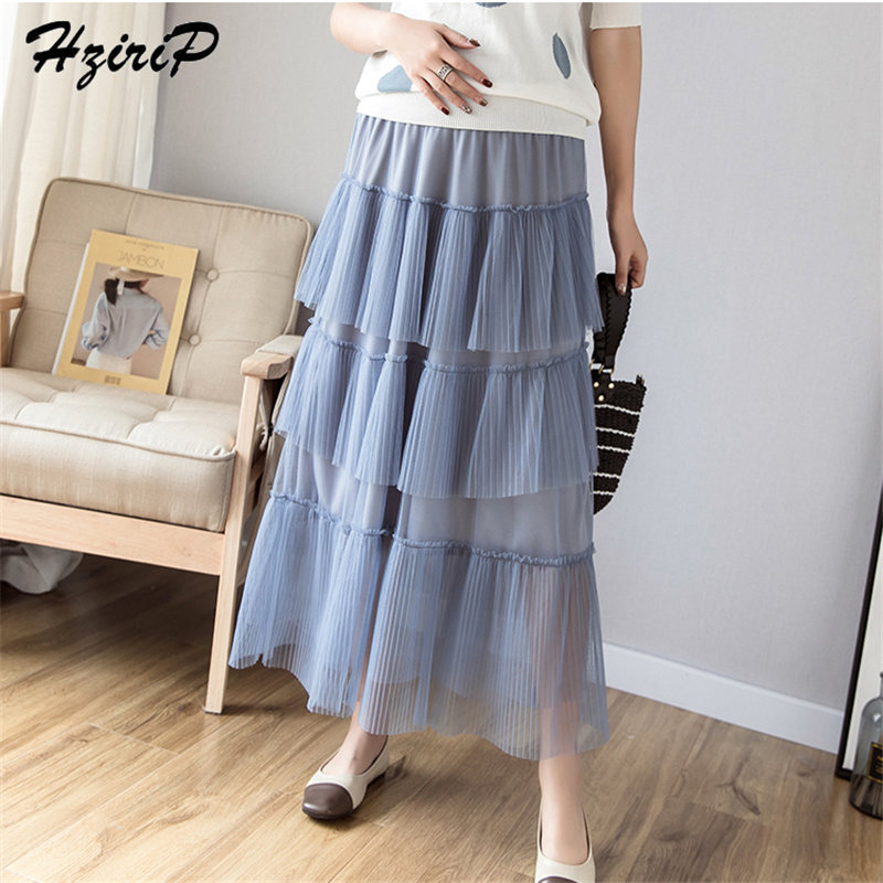 HziriP 2019 Summer Simple Pregnant Plus Size New Mesh Maternity New Style Solid Ankle-Length Fresh High Waist 3 Colors Skirts