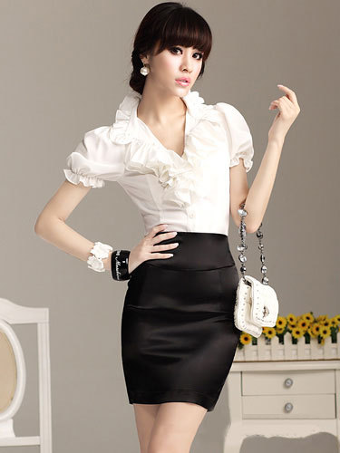 New Office Lady Sexy Elegant Black Satin Mini Pencil Skirt -2119