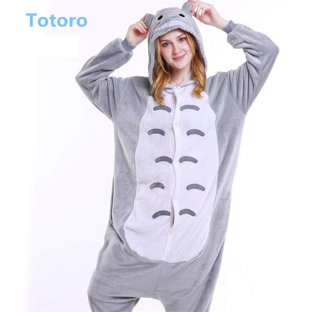 Adult Women Character Animal Cow Giraffe Totoro Tiger Pink Pig Pajamas Set  Winter Flannel Hooded Kigurumi 27cfad4b14796