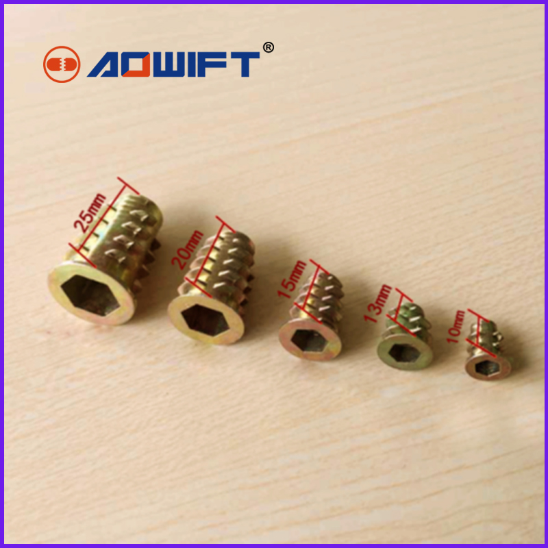 5 PCS allen inside outside thread nuts hex sleeves furniture nut embedded parts M8 M10