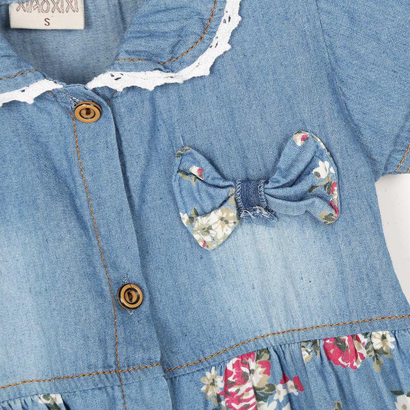 c6ea694a1f1 ... Летнее джинсовое платье в цветочек для отдыха для девочек симпатичное  джинсовое платье с бантом для маленьких ...