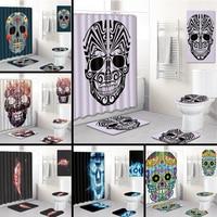 5pcs/set 3D Skull Printed Pattern Shower Curtain Pedestal Rug Lid Toilet Cover Mat Bath Mat Set Bathroom Curtains