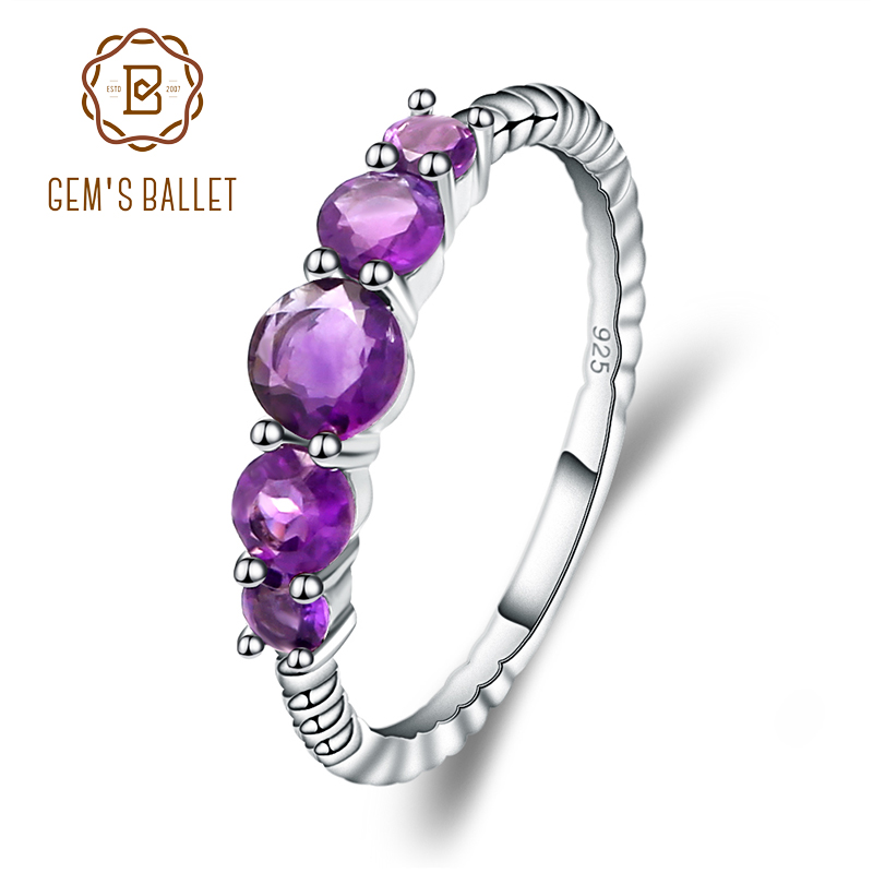 GEM'S BALLET Classic 1.28ct Round Natural Amethyst Rope Band Stackable Ring For Women Wedding 925 Sterling Silver Fine Jewelry