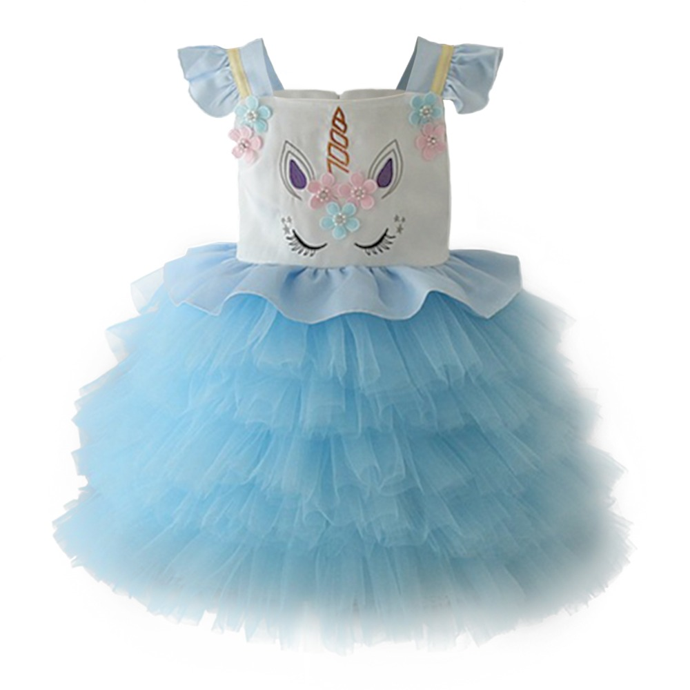 Cute Baby Kids Girls Flower Unicorn Dress Birthday Party Cosplay Fancy up Princess Evening Gown