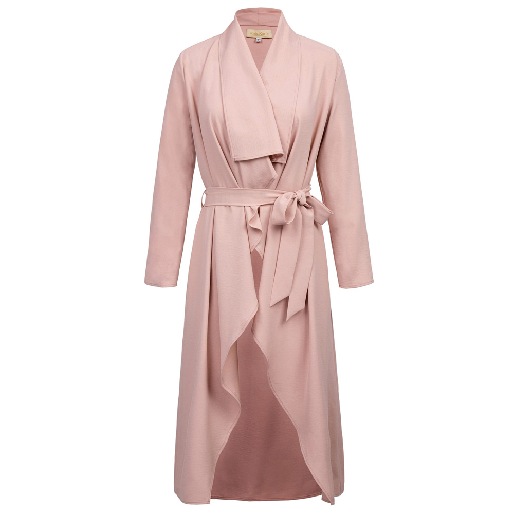 New Women Casual coats Autumn Loose Long Sleeve Lapel Collar Tie Waist high low elegant sashes belt Trench Coat Outwear ladies