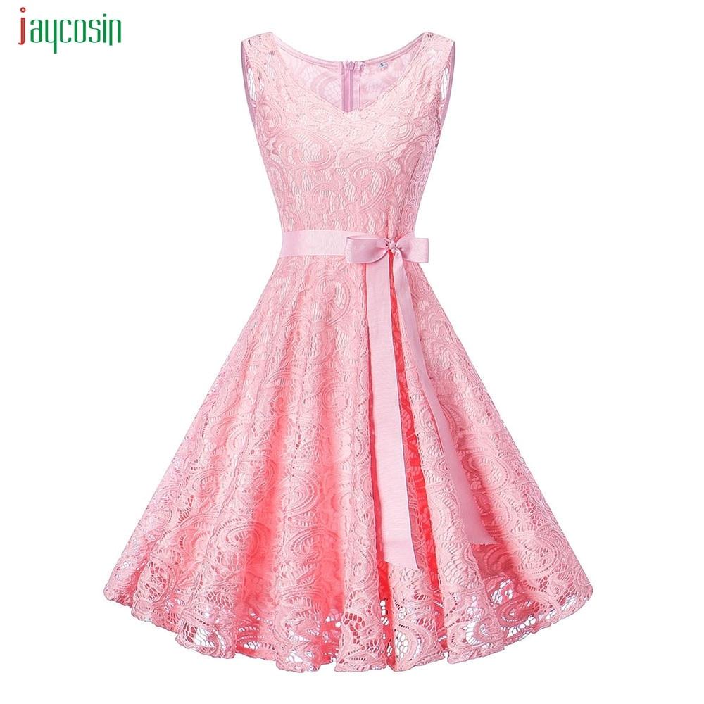 Jaycosin Women's Sleeveless Elegant Lace Dresses Natural Swing Solid Ladies Wedding Bridesmaid Hot Sales Vestidos De Festa New