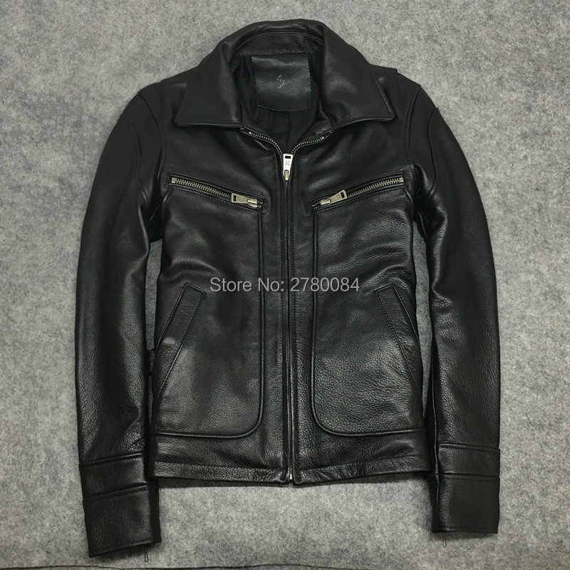 f88c256c520 SEEMIO пояса из натуральной кожи куртка для мужчин коровьей пальто мальчик  мода мотоцикл костюм