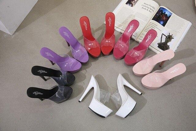 2019 여름 슬리퍼 6 색 레드 화이트 블랙 여성 플랫폼 신발 섹시한 나이트 클럽 T 무대 쇼 하이힐 15cm 플러스 사이즈 34 41