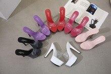 Zapatillas de plataforma para mujer, zapatos sexys con tacón alto de 15cm, en 6 colores, rojo, blanco y negro, tallas 34 41, para verano, 2019