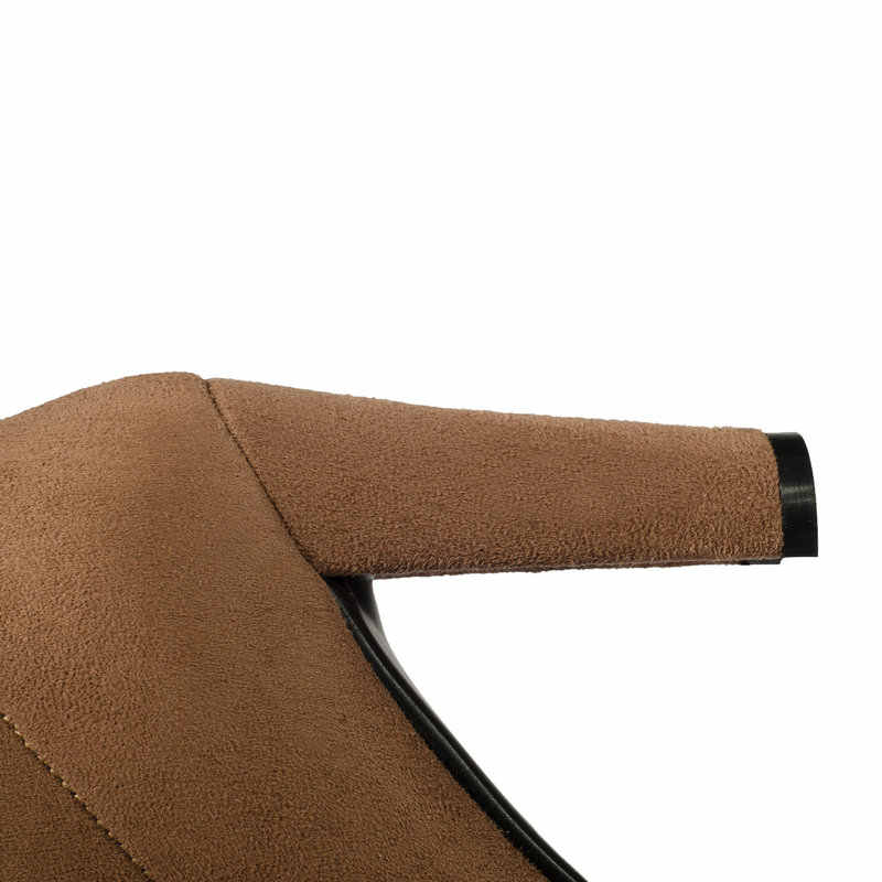 ออกแบบแบรนด์ Block Heel ต้นขารองเท้าผู้หญิงส้นสูงรองเท้ายืดสุภาพสตรีเข่าสีดำสีเทาสีน้ำตาล Nude 2020 ฤดูหนาว