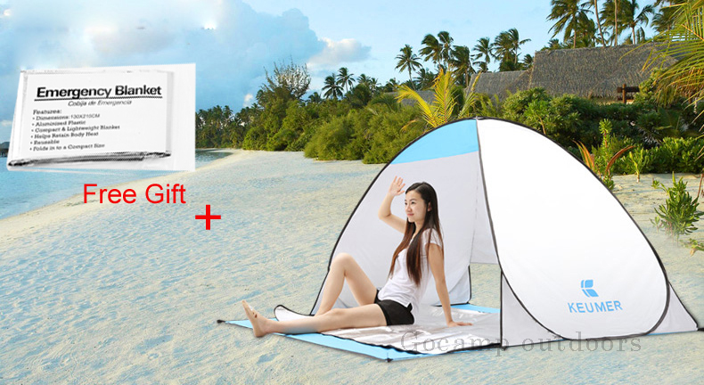 KEUMER Beach Tent 2 Persons 1 Second Open Automatic Tent Camping Tent Instant Pop Up Open Anti UV Awning Tent Outdoor Sunshelter