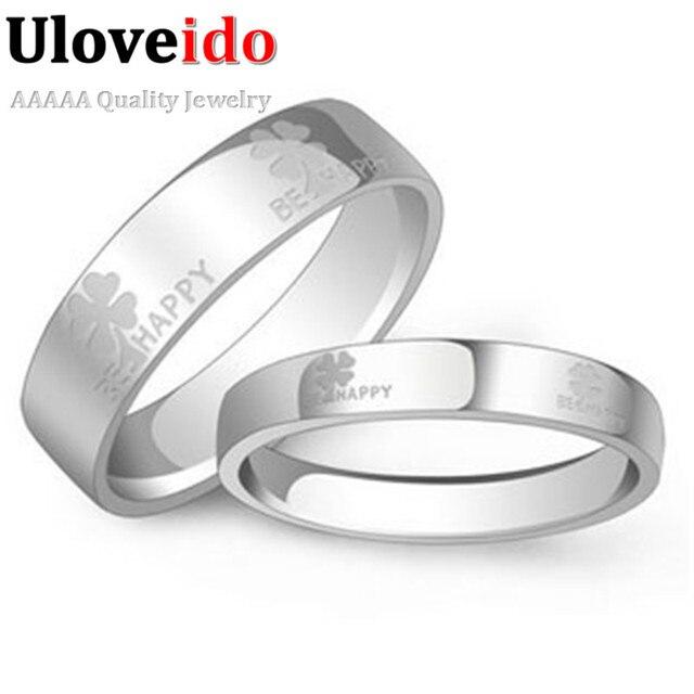 Us 67 Pernikahan Pasangan Pair Rings Dengan Surat Bunga Untuk Kekasih Putih Emas Disepuh Set Dubai Perhiasan Stainless Steel Cincin Uloveido J052