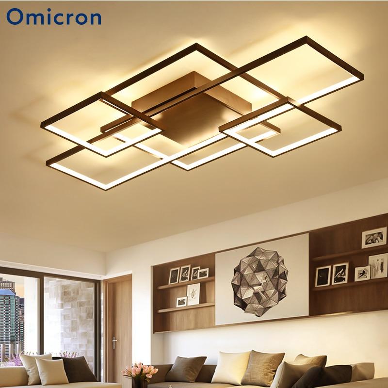 Omicron Modern LED Chandelier Square Rings Aluminum Home Decor Lighting For Living Room Bedroom Fixtures Lustre Plafonnier platinum omicron