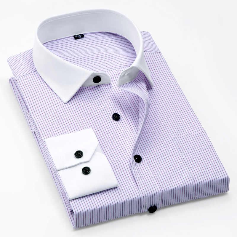 Nieuwe Lente Patchwork witte kraag en manchet lange mouwen met borst pocket strijkvrij gemakkelijk zorg geen vervagen geen krimpen business mannen shirt