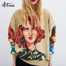 Artsnie, уличная одежда, принт с персонажами, Женская толстовка, весна, о-образный вырез, длинный рукав, пуловер, вязаный, негабаритный, с капюшоном, толстовки