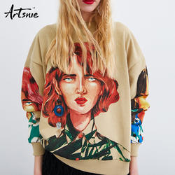 Artsnie уличная Женская толстовка с принтом персонажа Весна 2019 пуловер с длинными рукавами и круглым вырезом вязаный свитер с капюшоном