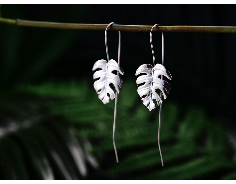 HTB1pm5IzQOWBuNjSsppq6xPgpXa1 - Lotus Fun Real 925 Sterling Silver Creative Handmade Design Fine Jewelry 18K Gold Monstera Leaves Drop Earrings for Women Bijoux