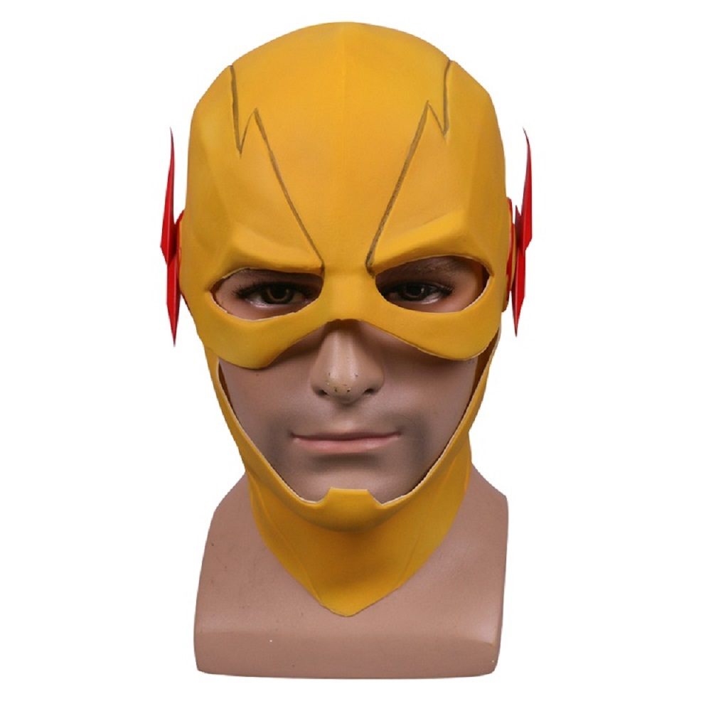 The Flash Mask DC Barry Allen Mask Cosplay Costume Prop Halloween Yellow Full Head Latex Party Masks Adult