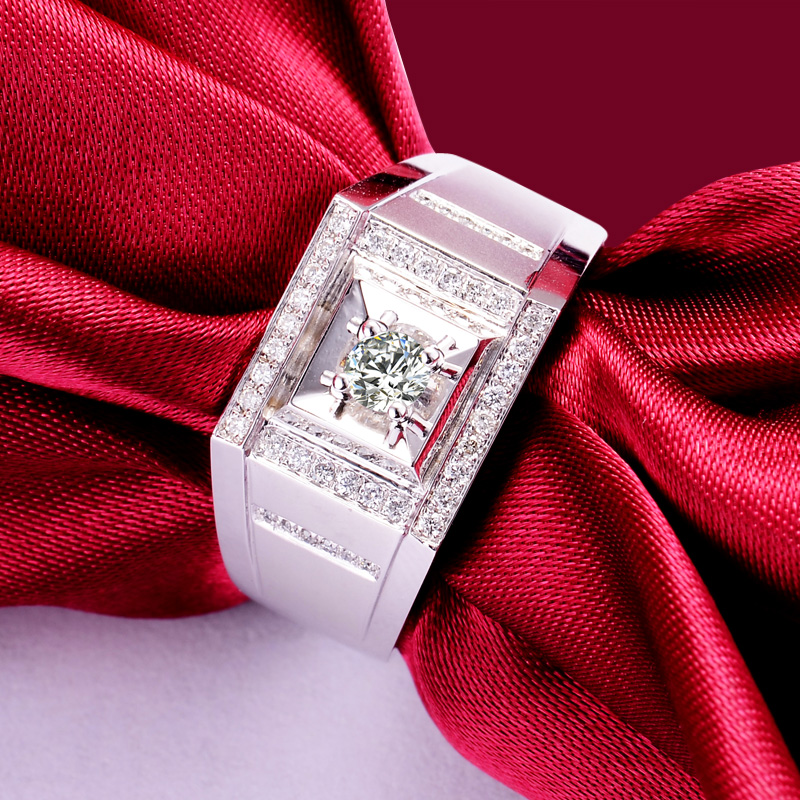 0.20+0.20ct Natural Diamond Ring for Men 18K White Gold Handmade Wedding Band Engagement Diamond Jewelry