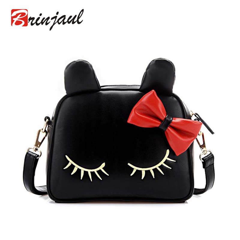 Fashion Women Cute Shoulder Bag Cat Face Pouch Cartoon Print Zipper Closure Messenger Coin Purse Clutch CX051