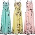 La gasa del verano mujeres de la impresión floral dress plus tamaño 6l largo maxi dress tamaño grande moda mujer vestidos