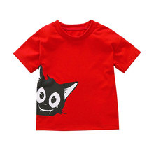 Baby t-shirt cotton kids top clothes boys t shirt cartoon cat Printed clothing 2019 NEW kid summer short sweater fashion o-neck